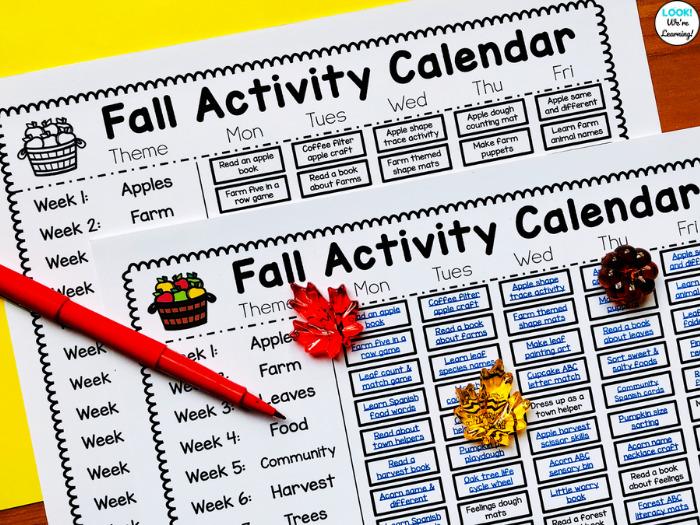 Preschool Fall Themed Calendar for Teachers