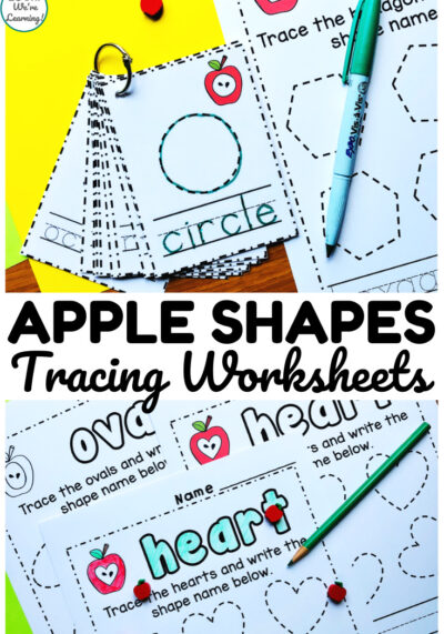 These apple shape tracing worksheets are so fun for helping students learn to build plane shapes!