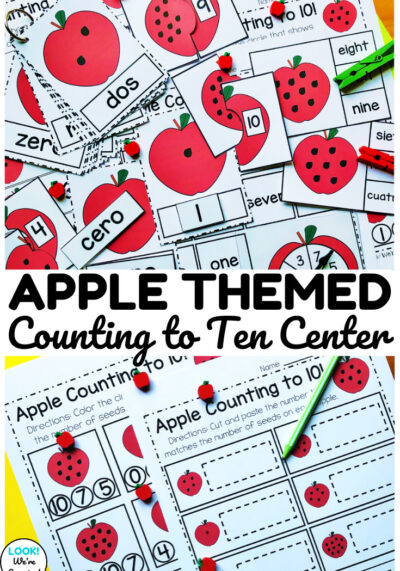 This apple counting to ten math center for kindergarten is an excellent way to welcome students back to school with fun counting practice!
