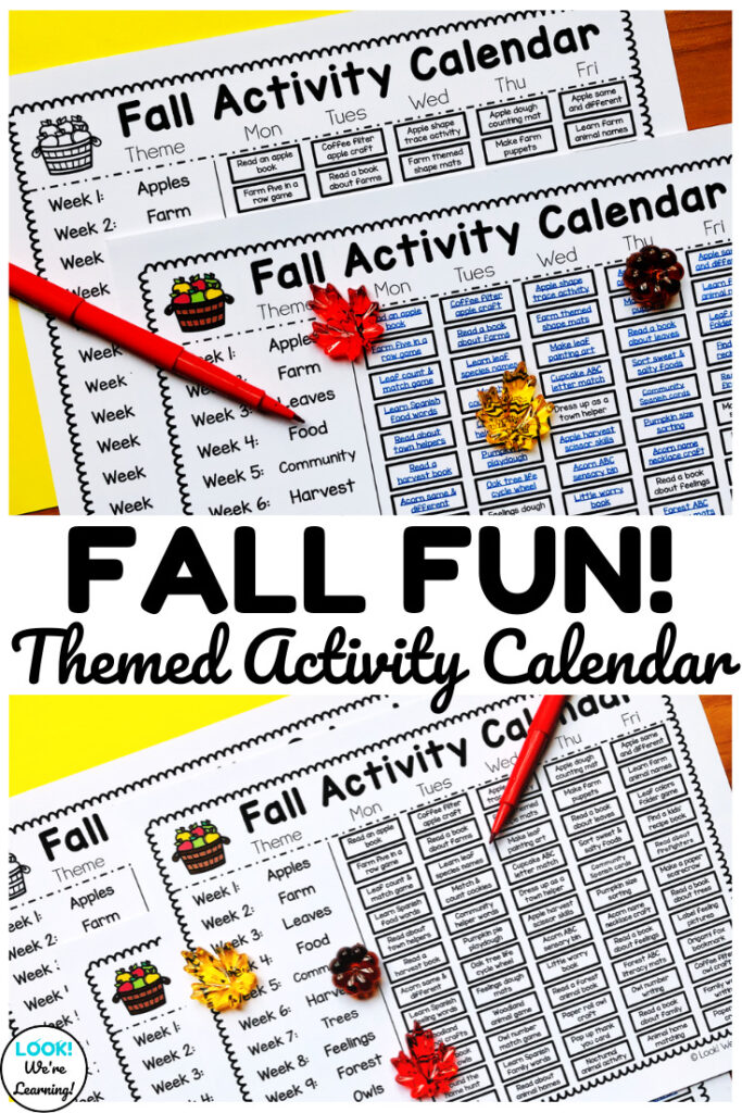 Use this printable preschool fall activity calendar to plan an entire season of ideas for early learners!