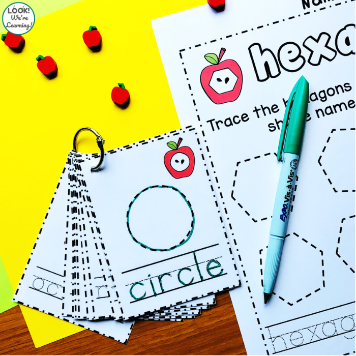 Using Apple Shape Tracing Cards and Worksheets