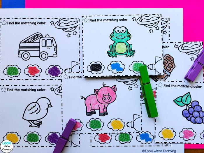 Blackline Color Clip Cards for Kids