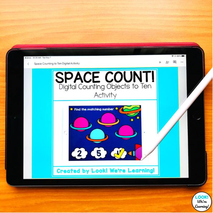 Digital Space Counting Kindergarten Activity