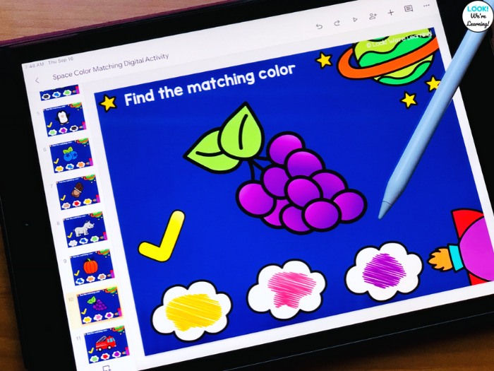 Digital Space Themed Color Matching Activity