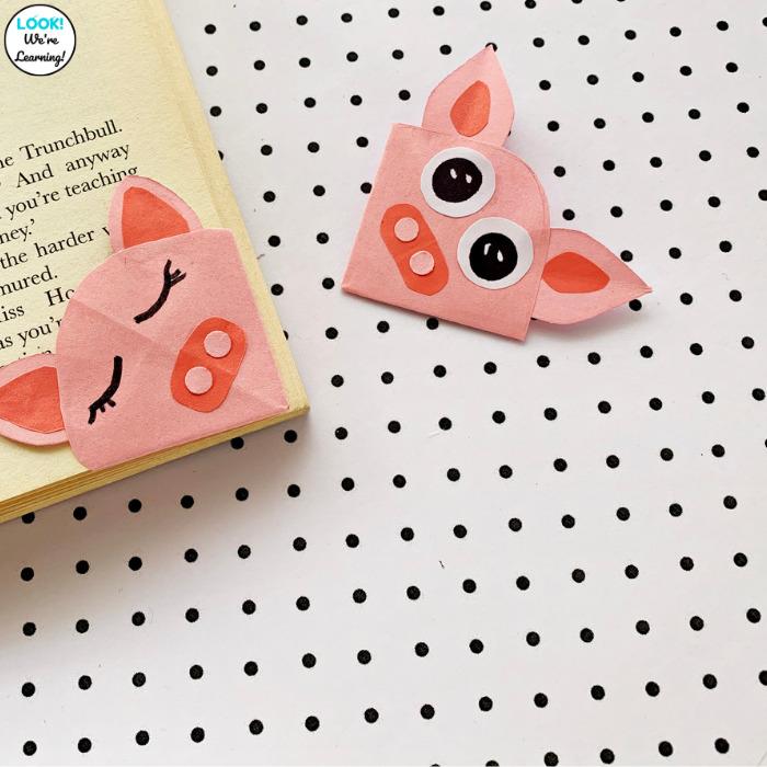 Kids Pig Bookmark Craft