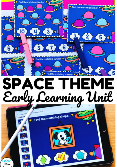 Learn basic concepts about shapes, counting, letter sounds, and colors with this fun space themed kindergarten center!