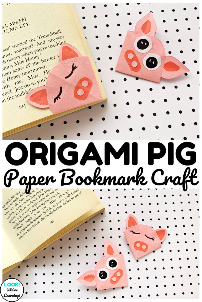 Make this fun and easy origami pig bookmark craft as a fall art project!