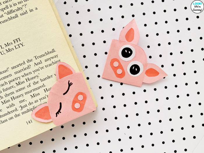 Origami Pig Bookmark Craft for Kids