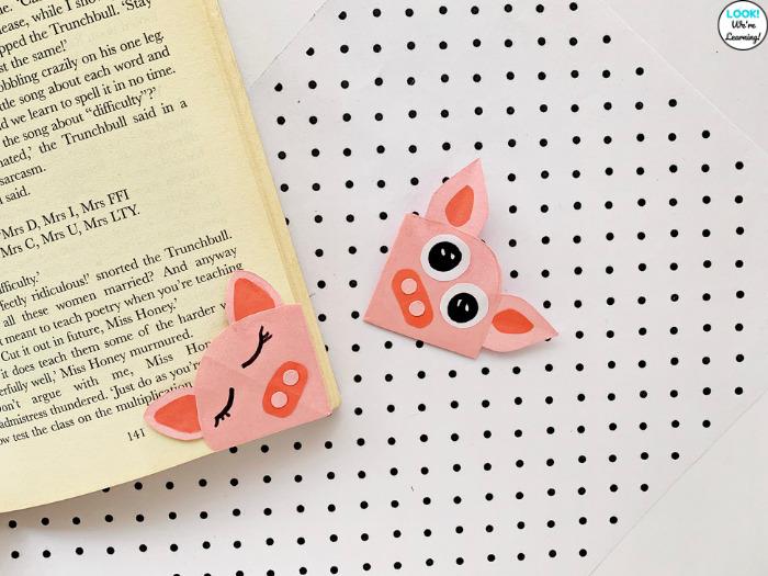 Paper Pig Bookmark for Kids