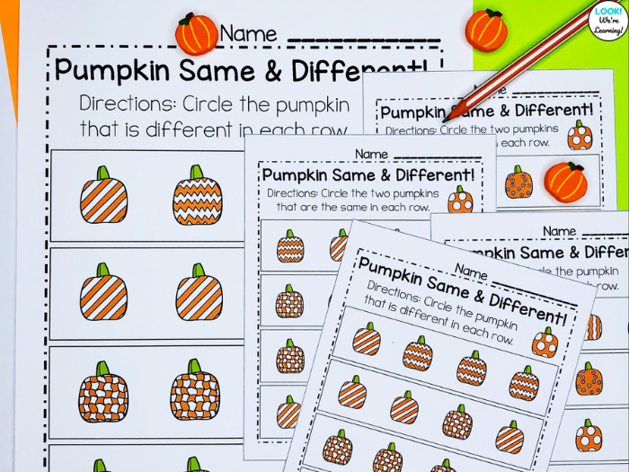 Pumpkin Same and Different Worksheets for Early Learners