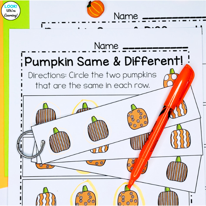 Pumpkin Same and Different Worksheets for Math Centers