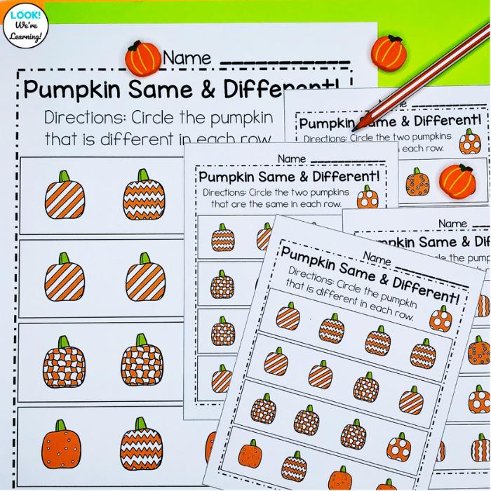 Pumpkin Visual Discrimination Activity for Kids