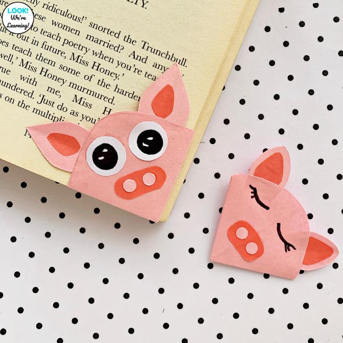 Simple Origami Pig Bookmark Craft