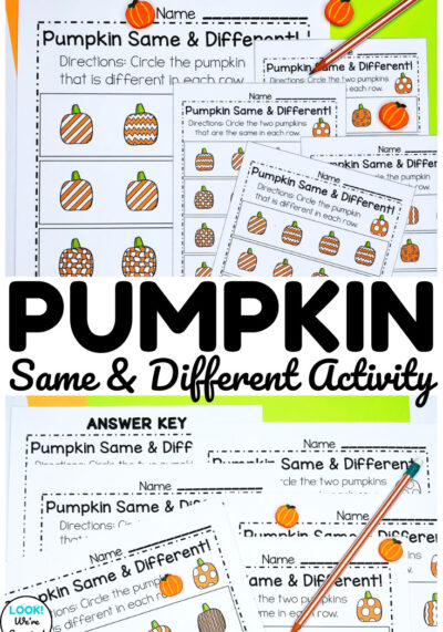 These pumpkin same and different worksheets are such a simple way to practice visual discrimination during autumn!