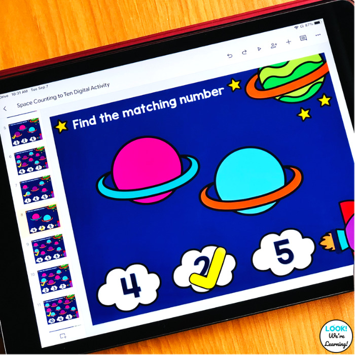 Using a Digital Space Counting Activity with Kids